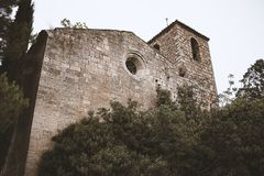 Romanesque style church located in a town in northern Spain called Siurana royalty free stock image