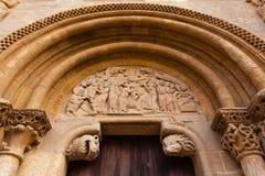 Romanesque style door of San Isidoro Collegiate in leon Stock Photos