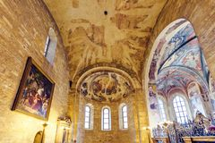 Romanesque Style Interior Of St. George`s Basilica Royalty Free Stock Photos