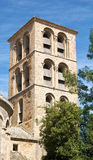 Romanesque Tower. Of the Abbey of Caunes-Minervois stock images