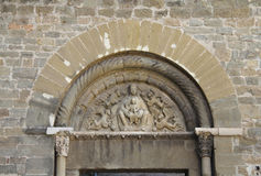 Romanesque tympanum in the Cathedral of. Manresa, La Seu, Barcelona province, Catalonia, Spain Royalty Free Stock Photos