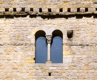 Romanesque window. Of the Castle of the Cite of Carcassonne stock image