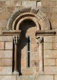 Romanesque window of Santiago de Taboada church stock photo