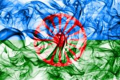 Romani people smoke flag, Gipsy smoke flag.  Stock Photo