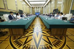 Romania'seerste minister Viorica Dancila royalty-vrije stock foto's