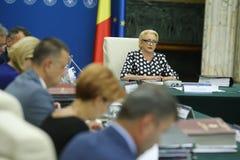 Romania'seerste minister Viorica Dancila stock afbeelding