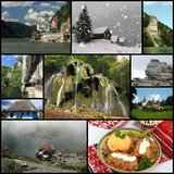 Romania. Collage of Romania, landmarks, cuisine and landscapes Royalty Free Stock Photo