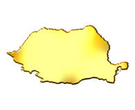 Romania 3d Golden Map. Isolated in white Royalty Free Stock Images