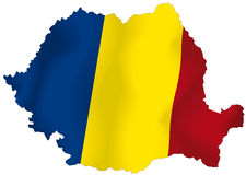 Romania. Vector illustration of a map and flag from Romania