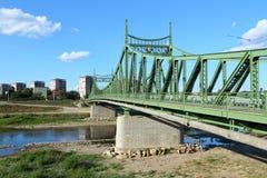 Romania - Arad. Arad, town in Crisana region of Romania. Suspension bridge over Mures river Royalty Free Stock Images