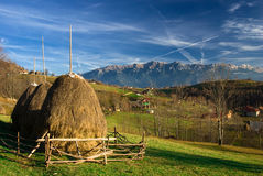 Romania autumn landscape with mountains. Royalty Free Stock Image