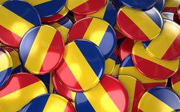 Romania Badges Background - Pile of Romanian Flag Buttons. 3D Rendering Royalty Free Stock Photo