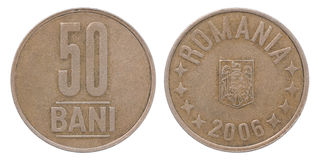50 Romania bani coin. Isolated on white background Royalty Free Stock Photo