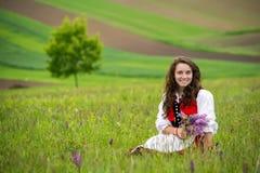 Romania beautiful girl and traditional costume in summer time. Romania beautiful girl with traditional costume , pure beauty in the summer time stock photos