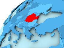 Romania on blue globe. Romania in red on blue model of political globe. 3D illustration Royalty Free Stock Image
