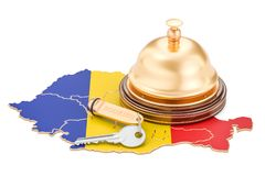 Romania booking concept. Romanian flag with hotel key and recept. Ion bell Stock Image