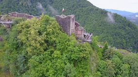 Romania castle in mountains stock footage