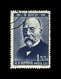 Robert Koch, tuberculosis scientist, explorer, tubercle bacillus discoverer, Romania, circa 1960,. ROMANIA - CIRCA 1960: post stamp printed in Romania shows royalty free stock image