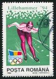 Ice skating. ROMANIA - CIRCA 1994: stamp printed by Romania, show ice-skating, circa 1994 Royalty Free Stock Images