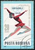 Ice Skating. ROMANIA - CIRCA 1967: stamp printed by Romania, shows Ice Skating, circa 1967 Stock Photos