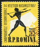 Javelin thrower. ROMANIA - CIRCA 1957: stamp printed by Romania, shows Javelin thrower, bison, circa 1957 Royalty Free Stock Image
