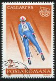 Luge. ROMANIA - CIRCA 1987: stamp printed by Romania, shows Luge, circa 1987 Royalty Free Stock Images
