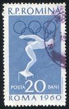 Poststamp. ROMANIA - CIRCA 1960: stamp printed by Romania, show swimmer, circa 1960 Royalty Free Stock Photos