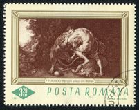 Hercules. ROMANIA - CIRCA 1967: stamp printed by Romania, shows Hercules and the Lion of Numea, by Rubens, circa 1967 stock image