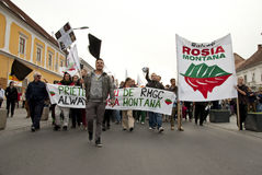 Romania in continuous protest. Continuous protests: a growing number of people are protesting the controversial Rosia Montana project, a proposed open-pit Royalty Free Stock Image