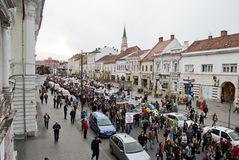 Romania in continuous protest. Continuous protests: a growing number of people are protesting the controversial Rosia Montana project, a proposed open-pit Stock Image