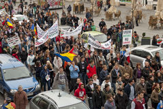 Romania in continuous protest. Continuous protests: a growing number of people are protesting the controversial Rosia Montana project, a proposed open-pit Royalty Free Stock Photos