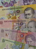 Romania currency. Banknotes of 1, 5, 10, 50 and 100 Romanian lei Royalty Free Stock Images