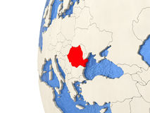 Romania on 3D globe Royalty Free Stock Photo
