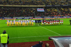 Romania-Denmark friendly match - teams Royalty Free Stock Image