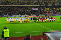 Romania-Denmark friendly match - teams Stock Photos