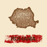 Romania distressed map. Grunge patriotic poster with textured country ink stamp and roller paint mark, vector illustration Stock Photo