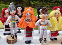 Romania Dolls. Handmade dolls decorated and dressed in traditional clothes in Romania Royalty Free Stock Photos