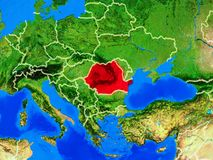 Romania on Earth with borders. Romania from space on model of planet Earth with country borders and very detailed planet surface. 3D illustration. Elements of stock images
