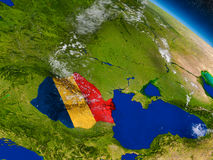 Romania with embedded flag on Earth Royalty Free Stock Images