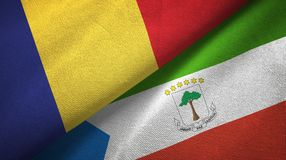 Romania and Equatorial Guinea two flags textile cloth, fabric texture. Romania and Equatorial Guinea two folded flags together vector illustration