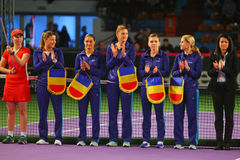 Romania Fed Cup Team. Pictured before the Fed Cup meeting against Romania. The final score of the meeting was 3-2 for Romania Royalty Free Stock Photo