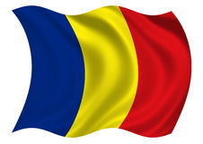Romania Flag of. Flag of Romania Fluttering gently in the breeze Royalty Free Stock Images