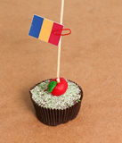 Romania flag on a apple cupcake. Picture of a Stock Images