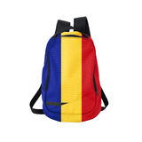 Romania flag backpack isolated on white. Background. Back to school concept. Education and study abroad. Travel and tourism in Romania Stock Photos