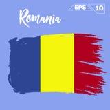 Romania flag brush strokes Stock Photography