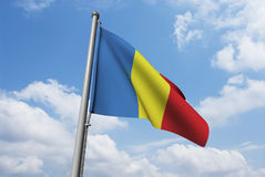 Romania Flag with Clouds Royalty Free Stock Photos