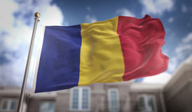 Romania Flag 3D Rendering on Blue Sky Building Background. Digital Art Stock Photos