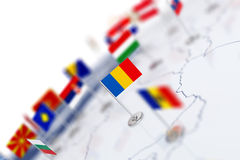 Romania flag in the focus. Europe map with countries flags. Shallow depth of field 3d illustration rendering on white background stock illustration