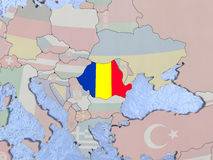 Romania with flag on globe Royalty Free Stock Images