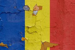 Romania flag painted on a weathered concrete wall Royalty Free Stock Image